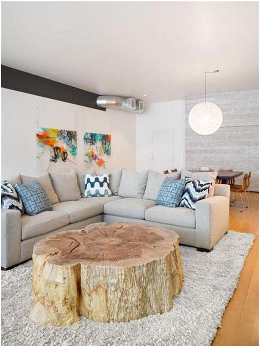 Świetna opcja na stworzenie stolika kawowego z wyciętego pnia drzewa.