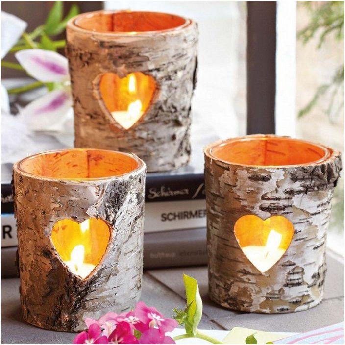 Dobrym rozwiązaniem jest stworzenie drewnianych świeczników, które ozdobią każde pomieszczenie.