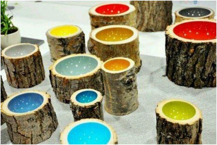 Wypełnianie kawałków drewna ceramiką to jedna z opcji dekoracyjnych dla każdego pomieszczenia.