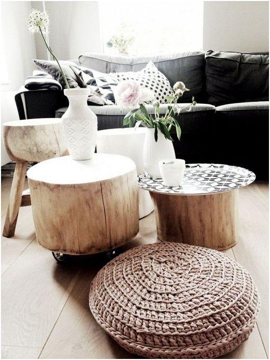 Zastosowanie trzech pni w postaci trzech mini stolików, które ozdobią wnętrze każdego pomieszczenia.