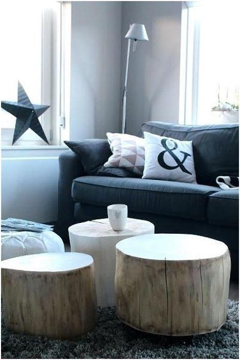 Trzy proste i piękne stoliki z wycięć drzewnych odświeżą wnętrze.