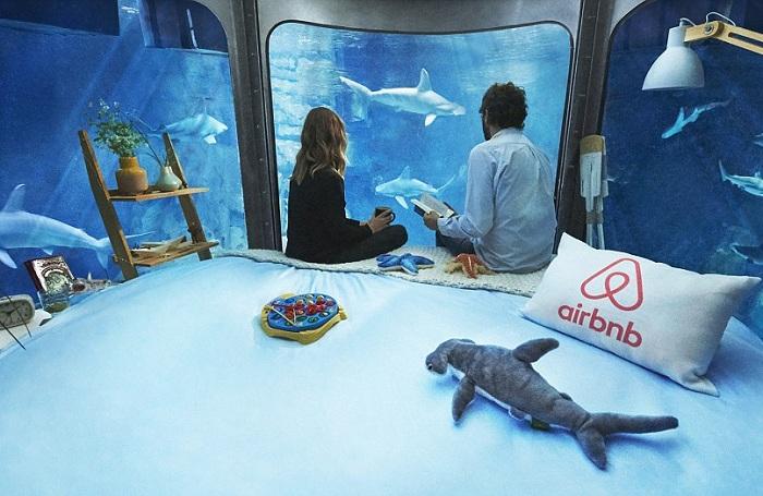 Podwodna sypialnia to wspólny projekt Aquarium De Paris i serwisu internetowego Airbnb.