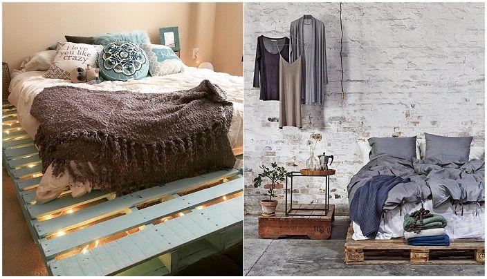 Интересни идеи за декориране на легла от палети.