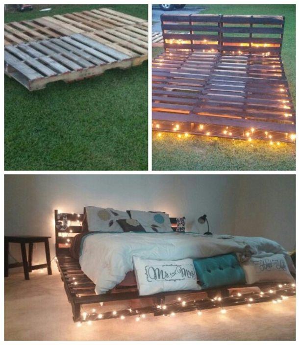 Интересен дизайн на леглото върху палети с ярко и топло осветление.