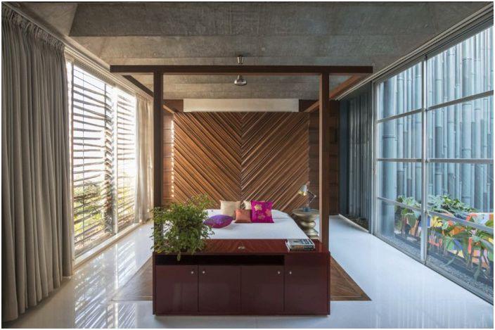 Sypialnia w domu autorstwa S + PS Architects.