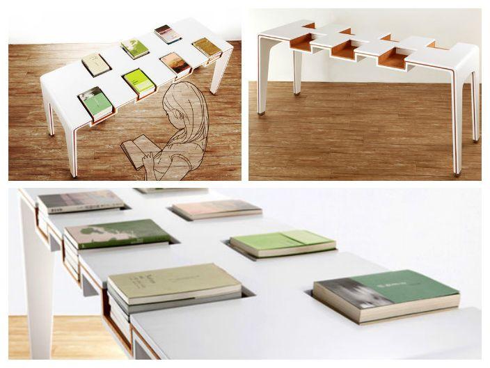 Stół z wnękami na książki
