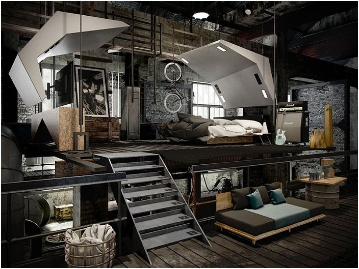 Таванското помещение е мястото, където се намира тази спалня, с много интересни функции в своя дизайн.