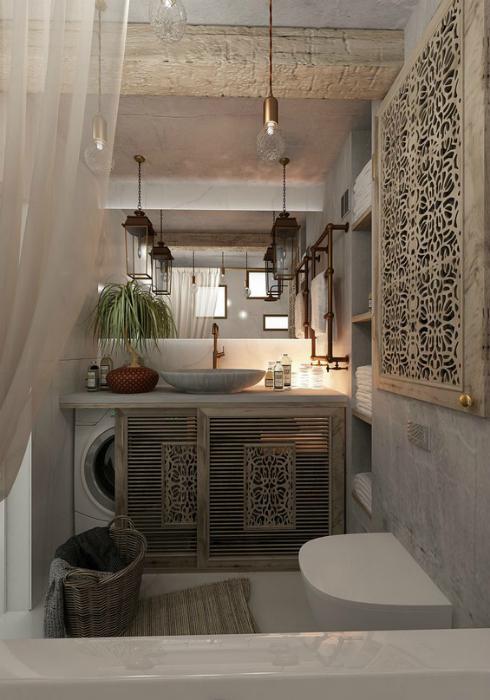 Малка баня в кънтри стил.