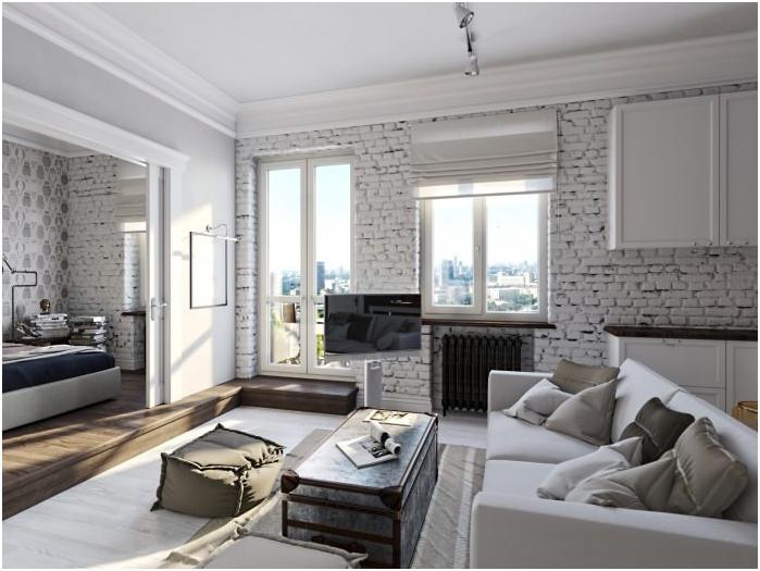 természetes fehér tégla a nappali belsejében