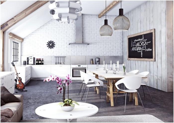 бяла тухлена стена във вътрешността на кухнята