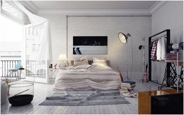 бяла тухлена стена в спалнята