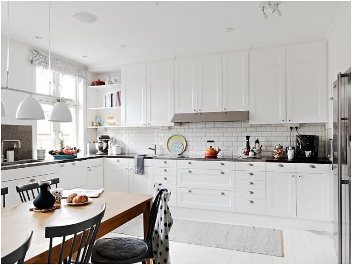 Бяла тухла в дизайна на кухнята