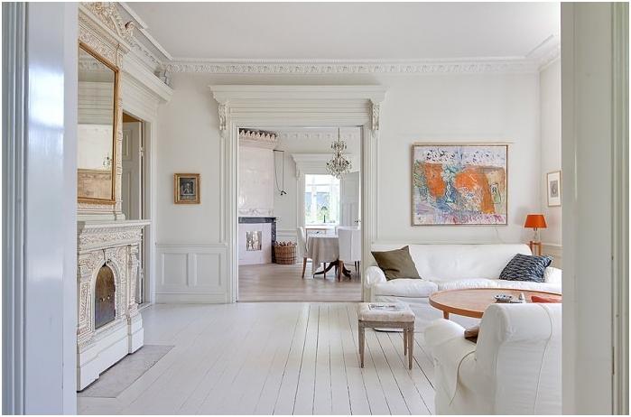 бял под в дизайна на стаята