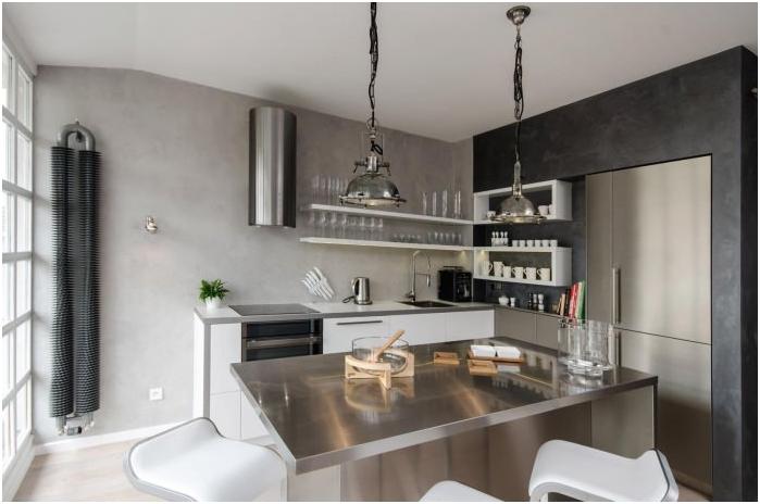 Betonowe ściany we wnętrzu kuchni