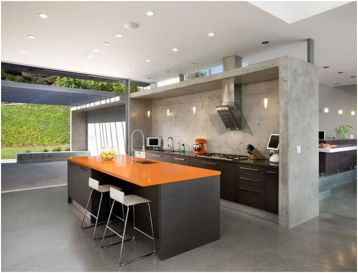 Wnętrze kuchni betonowej