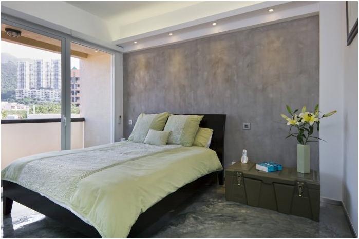 Wnętrze sypialni betonowej