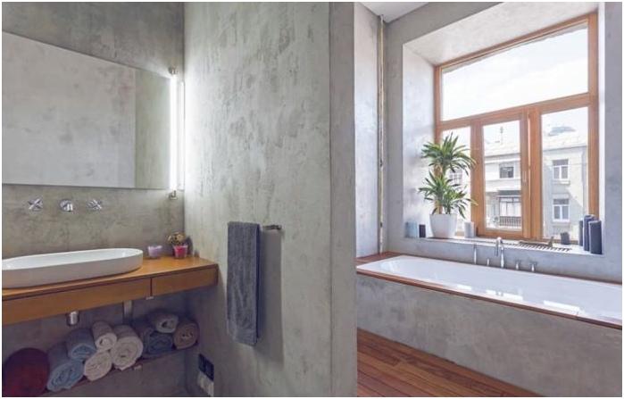 Betonowe wnętrze łazienki