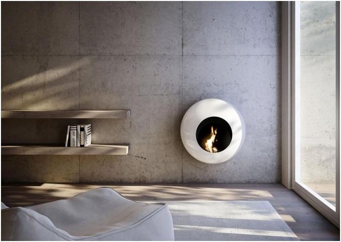 кръгла биокамина в интериора на хола