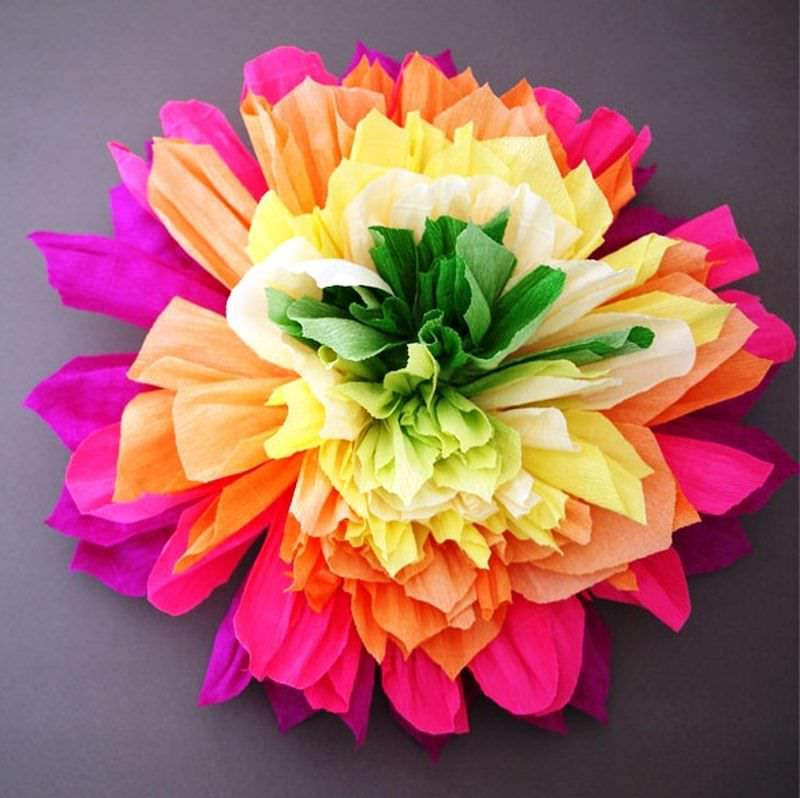 големи цветя от гофрирана хартия