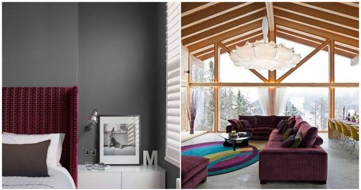 Бургундските елементи на декора ще украсят всяка стая в къщата.