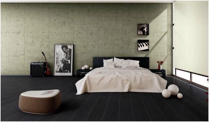 черен под в спалня дизайн
