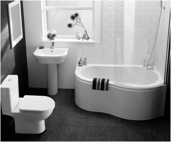черен под в дизайна на банята