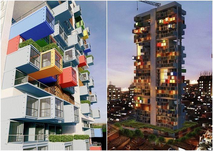 Projekt wielokondygnacyjnego budynku z kontenerów w Bombaju (Indie).