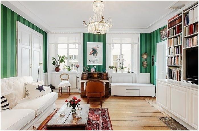 połączenie kolorów ścian, podłogi i sufitu z niskimi sufitami