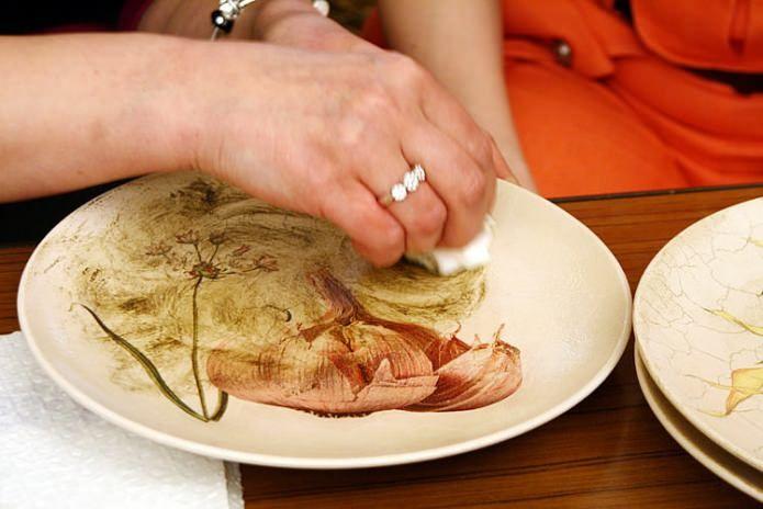 декупаж тарелки с кракелюром