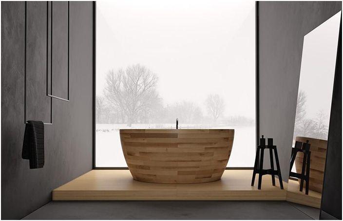 Кръгла дървена вана от уникален дизайн на дърво
