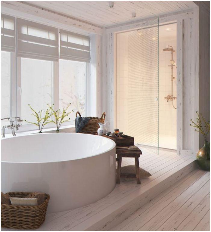 Дърво в дизайн на баня