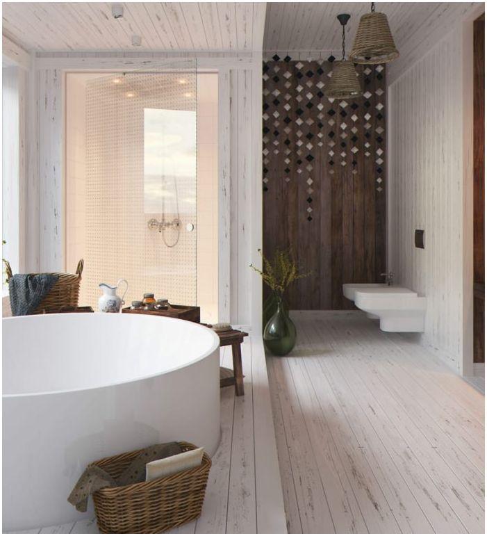 Bois dans la conception de salle de bain