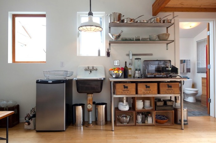 Kitchenette in a converted garage.