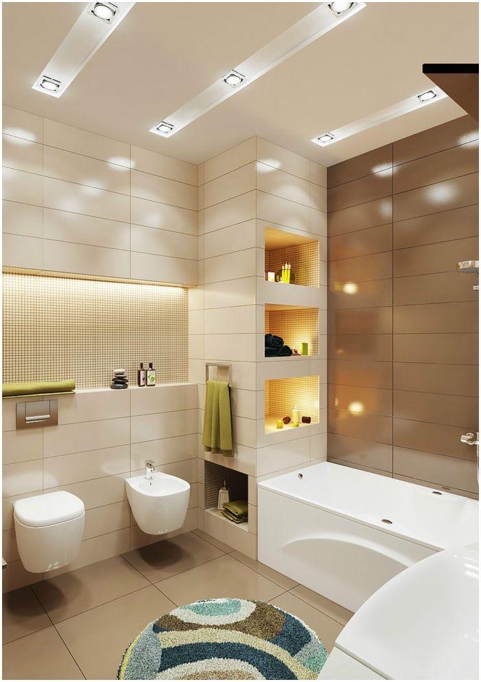 beżowo-brązowy projekt łazienki