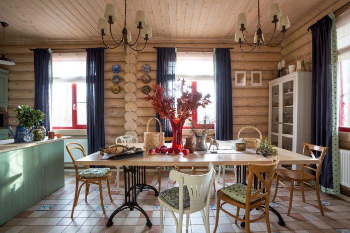 вътрешна декорация на дървена къща: кухня-трапезария