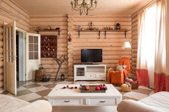 вътрешна декорация на дървена къща: хол