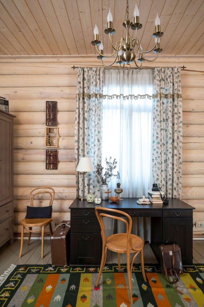 вътрешна декорация на дървена къща: кабинет