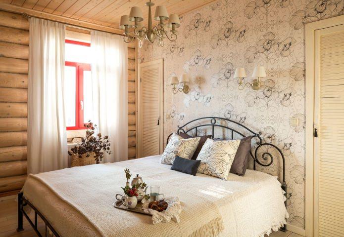 вътрешна декорация на дървена къща: спалня