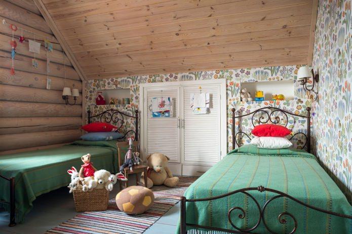 вътрешна украса на дървена къща: детска стая