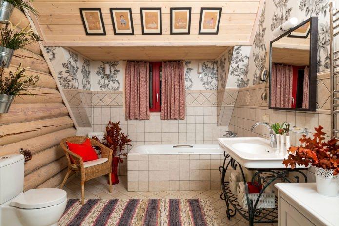 вътрешна декорация на дървена къща: баня