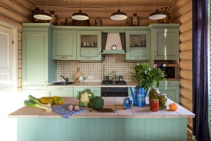 вътрешна декорация на дървена къща: кухня