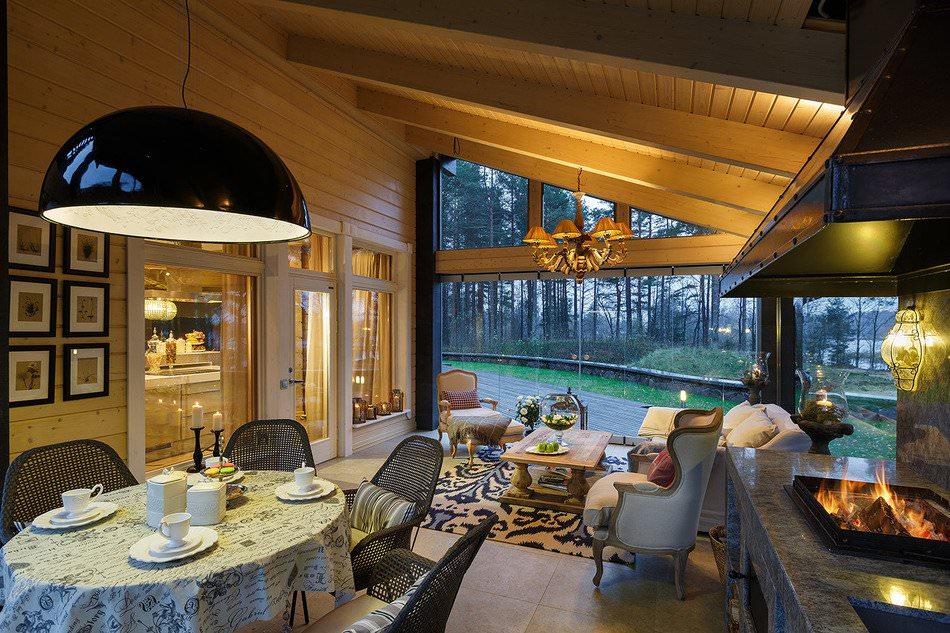 интериорен дизайн на къща, изработена от ламиниран фурнирен дървен материал