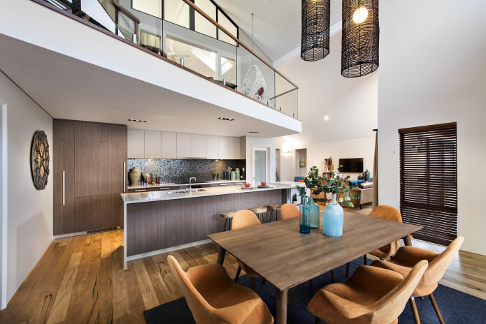cuisine dans la conception et l'intérieur d'une maison de campagne
