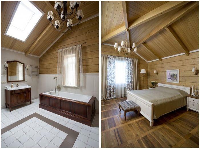 спальня и ванная в интерьере дома из клееного бруса
