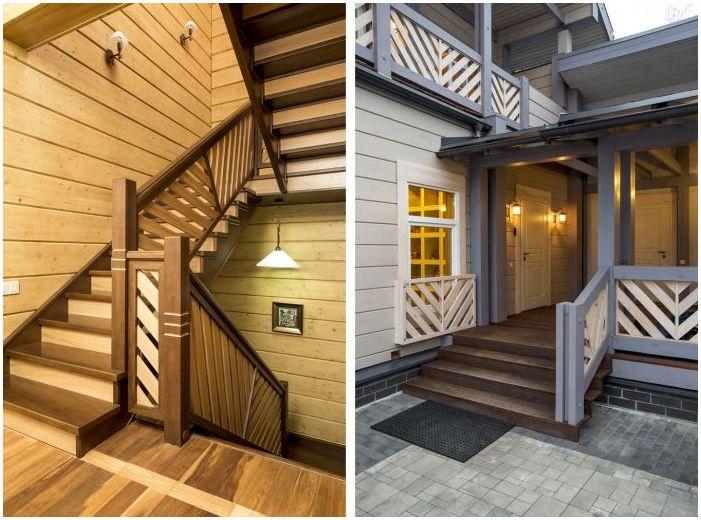 inngang til huset, trapper i et trehus