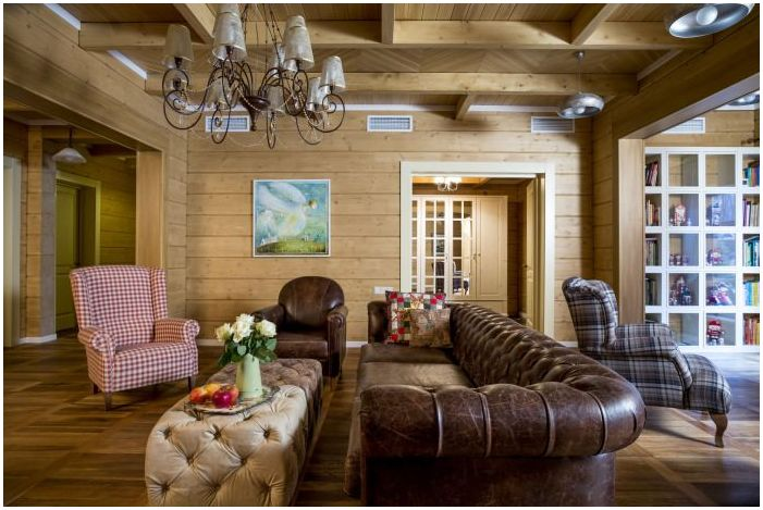 гостиная в дизайне интерьера деревянного дома