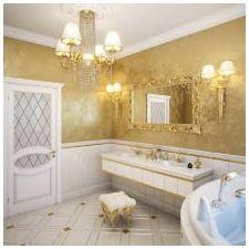 Дизайн интерьера ванной в золотом цвете -2