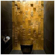 Дизайн интерьера ванной в золотом цвете -7