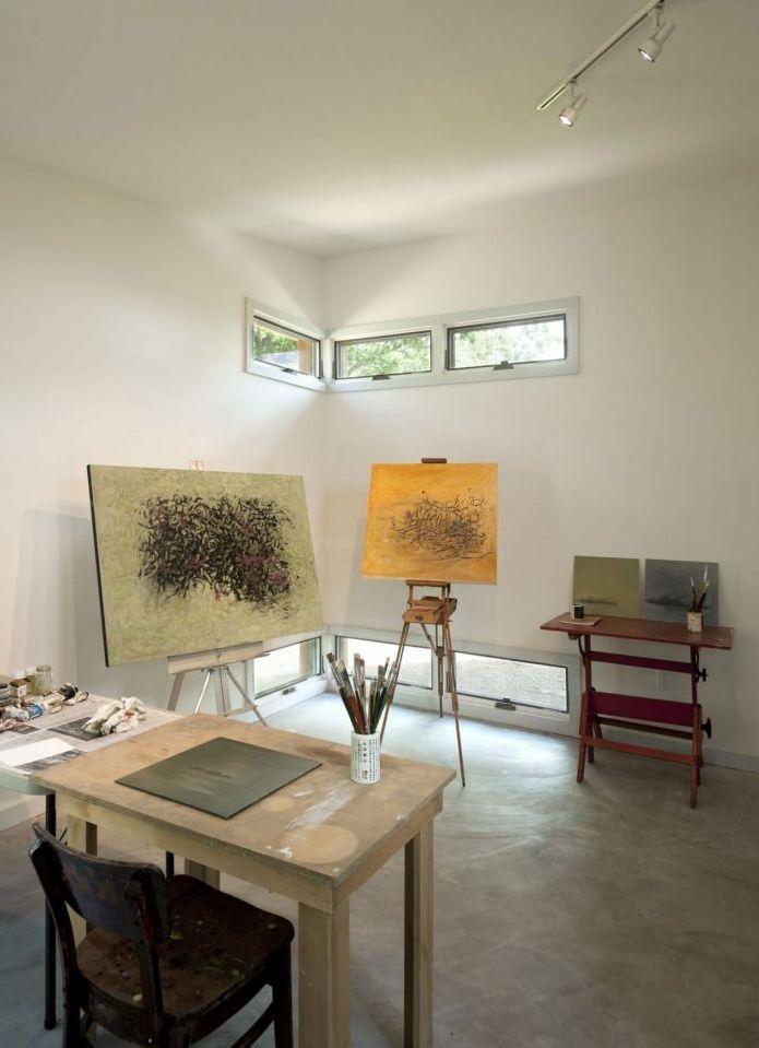 мастерская художника в интерьере небольшого жилого дома
