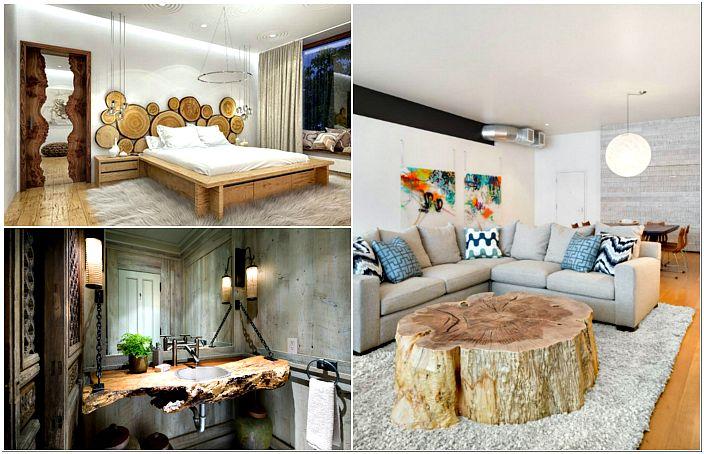Мебелни и декор елементи от дърво.